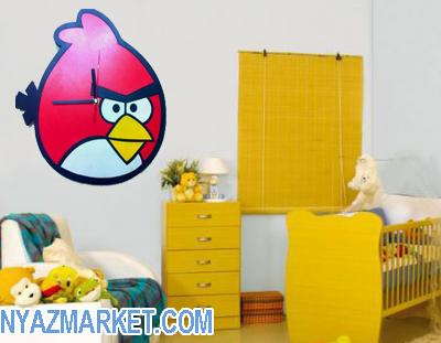 خرید ساعت دیواری کودک انگری بردز پرنده خشمگین فروش اینترنتی angry birds