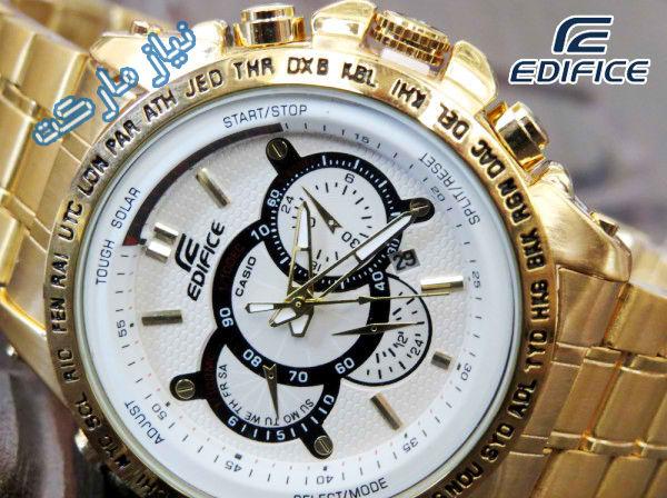 فروگاه خرید ساعت مچی کاسیو 710 صفحه سفید بند طلایی casio edifice 710 gold