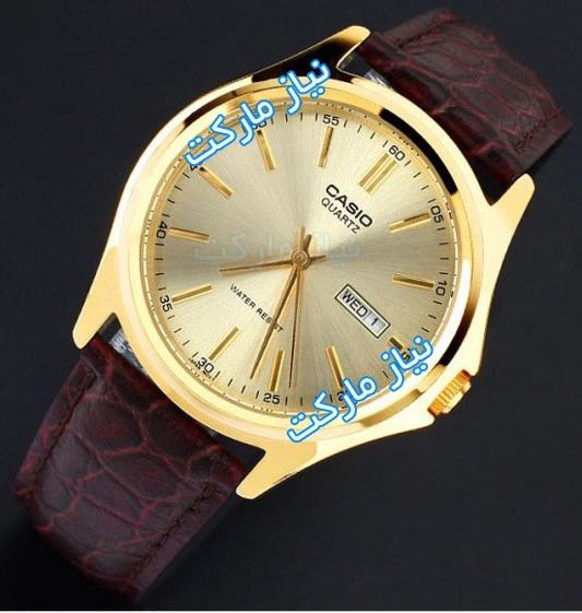 MTP-1183Q-9A خرید اینترنتی ساعت مچی بند چرم کاسیو صفحه طلایی
