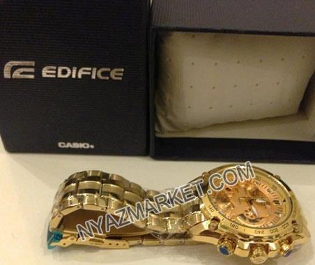 خرید پستی ساعت مردانه کاسیو ادیفایس طلایی 550 casio ef