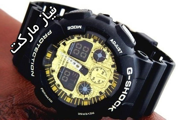 خرید ساعت جی شاک صفحه طلایی مدل سه موتوره دیجیتالی دو زمانه ga-100